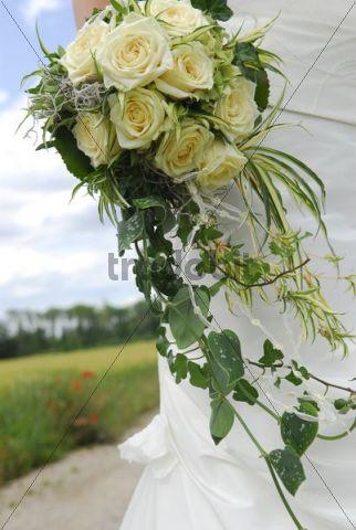 Bridal bouquet, landscape at back