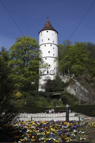 White tower at the city gardens in Biberach a.d. Riss, Biberach County, Upper Swabia, Baden-Wurttemberg, Germany, Europe