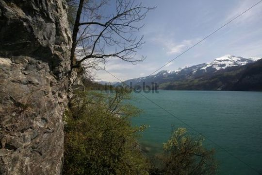 View from a tunnel exit on to the steep cliffs and Lake Walen, Betlis, St. Gallen, Switzerland, Europe