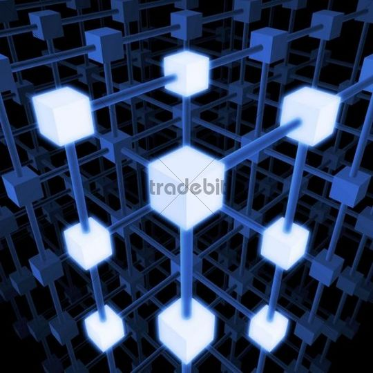 Three-dimensional grid structure made of blue and white cubes and rods, 3D Illustration
