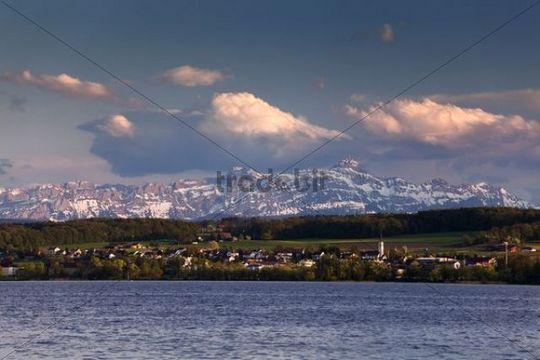 View of Konstanz at Lake Constance to the Swiss Alps, Alpstein, Saentis, Switzerland, Europe