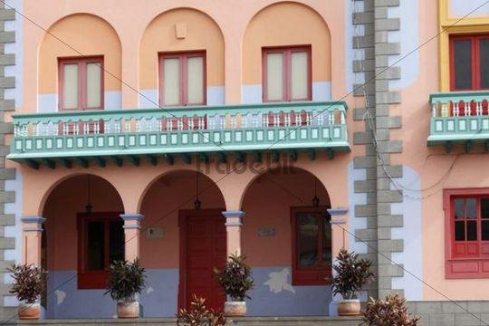 City hall facade in Tazacorte, La Palma, Canary Islands, Spain, Europe