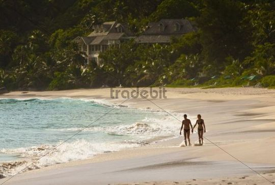 Anse Intendance Beach, Banyan Tree Resort in the back, Mahe Island, Seychelles, Indian Ocean, Africa