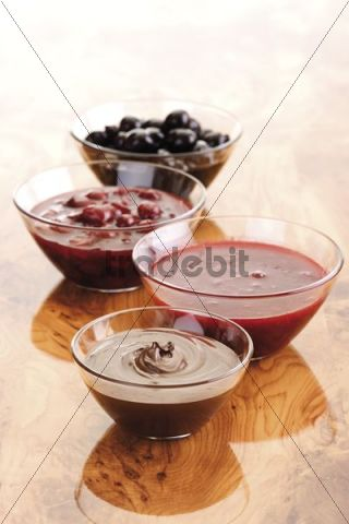 Waffle toppings, maraschino cherries, sour cherries, nougat cream, ...