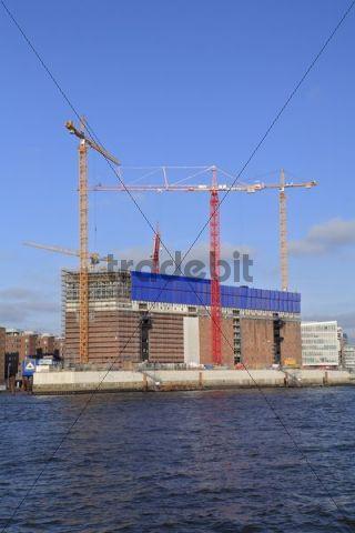 Construction site, Elbphilharmonie philharmonic hall, Kaispeicher warehouse, Hafencity, Harbor City, Harbor, Hamburg, Germany, Europe