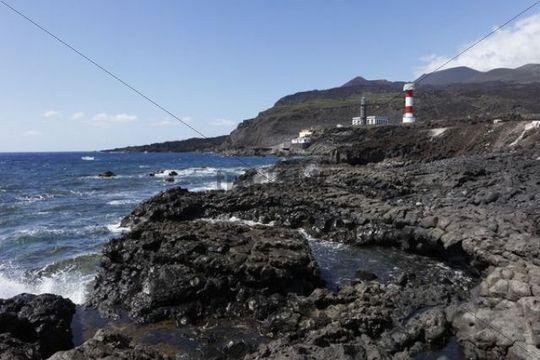 Volcanic rocky coast, lighthouses, old and new, Faro de Fuencaliente, La Palma, Canary Islands, Spain, Europe