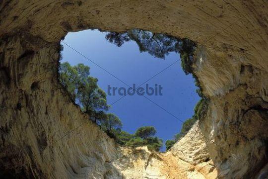 Cave near Vieste, Gargano, Apulia, Italy, Europe