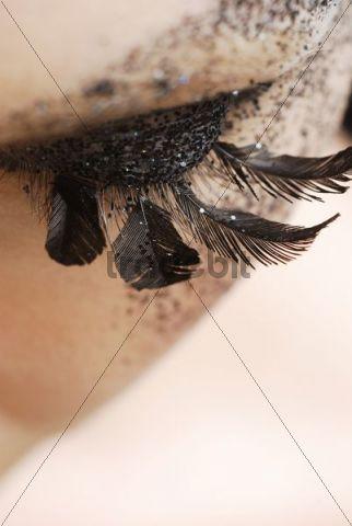 Eyelashes made of feathers
