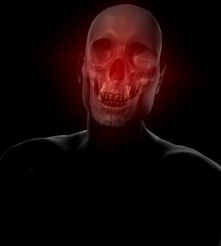 Illustration of man and skull