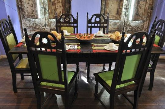 Stylish laid out breakfast table, Hotel Cafe Bahia, Salvador, Bahia, Brazil, South America