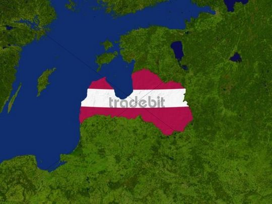 Satellite image of Latvia with the country´s flag covering it