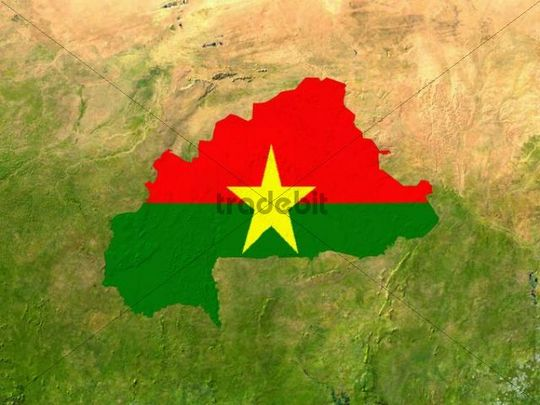 Satellite image of Burkina with the country´s flag covering it