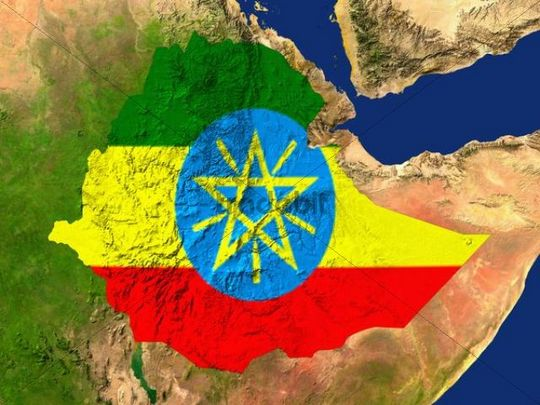 Satellite image of Ethiopia with the country´s flag covering it