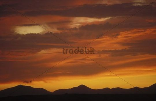 Evening sky, dramatic, red, clouds, Lanzarote, Canary Islands, Spain, Europe