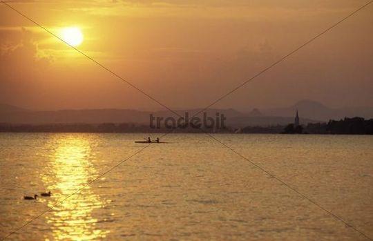 Sunset at Unterzell, Reichenau Island, boat, canoe, Lake Constance, Baden-Wuerttemberg, Germany, Europe