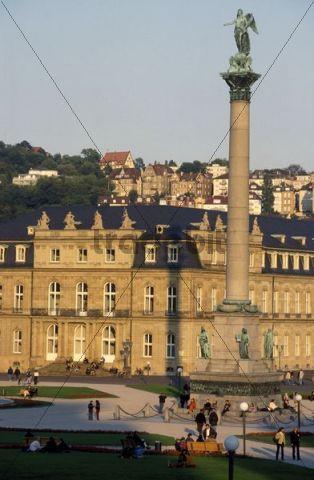 View of Schlossplatz Square, Jubilaeumssaeule Column, Neues Schloss, Stuttgart, Baden-Wuerttemberg, Germany, Europe