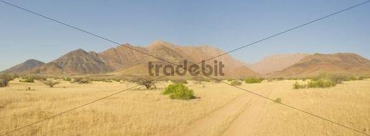 Brandberg Mountain seen from southwest, near the Numas Gorge, Namibia, Africa