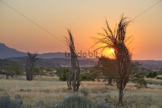 Sunset on the west side of Brandberg Mountain, Namibia, Africa