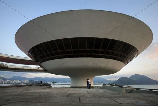Niterói Contemporary Art Museum, Museo de Arte Contemporanea, MAC, designed by the architect Oscar Niemeyer in Niterói, Rio de Janeiro, Brazil, South America