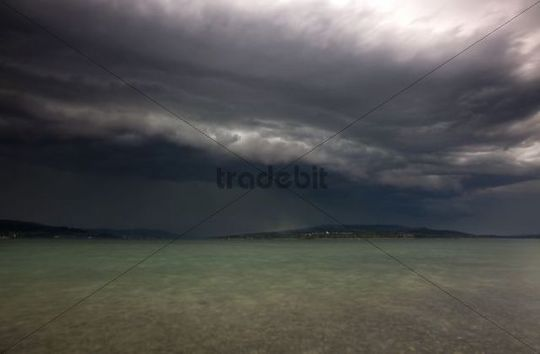 Thunderstorm on Lake Constance, Hoeri, Reichenau island, Baden-Wuerttemberg, Germany, Europe