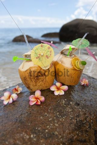 Coconuts filled with a drink on a granite rock, Mahe Island, Seychelles, Indian Ocean, Africa