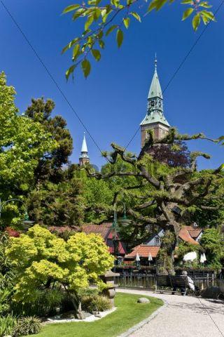 View to the tower of the city hall from Tivoli, Copenhagen, Denmark