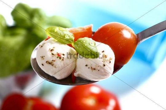Tomatoes, mozzarella and basil on a spoon