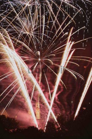 Fireworks, festival week, St. Michael Church, Krumbach, Schwaben, Bavaria, Germany, Europe