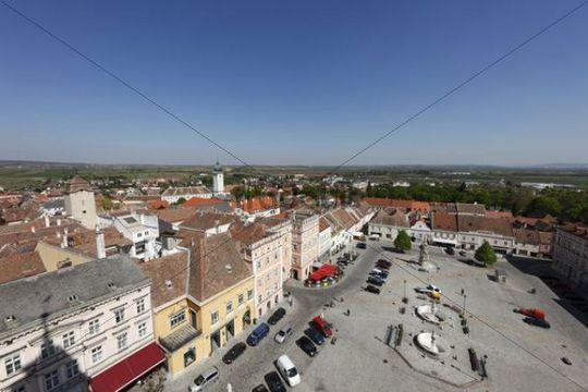 Main square in Retz, view from City Hall, Weinviertel, Lower Austria, Austria, Europe