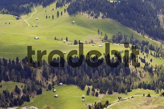 View to Zanser Alm near Geisler Spitzen, Geisler mountain, Dolomite Alps, Dolomites, South Tyrol, Italy