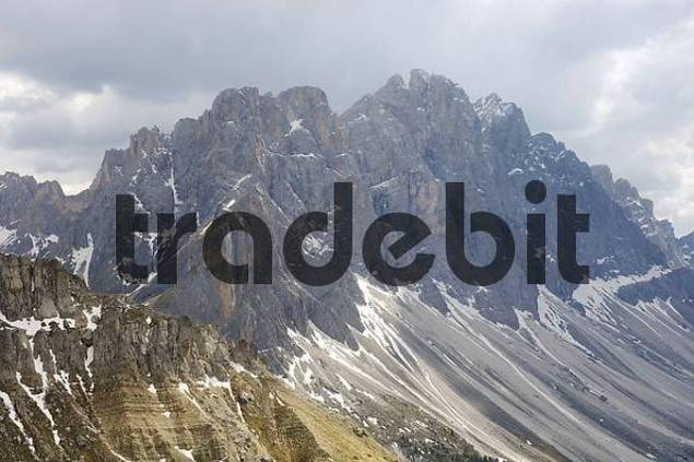 Geisler Spitzen, Geisler mountain, view from Zanser Alm, Dolomite Alps, Dolomites, South Tyrol, Italy