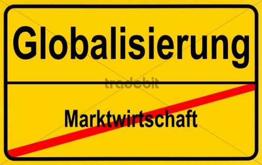 Sign city limits, symbolic image for the development from market economy to globalism