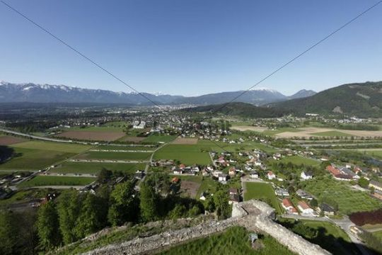 View from the Landskron castle ruins and Karawanken Villach, Carinthia, Austria, Europe