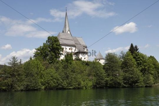 Parish and ossuary in Maria Woerth at Woerther Lake, Carinthia, Austria, Europe