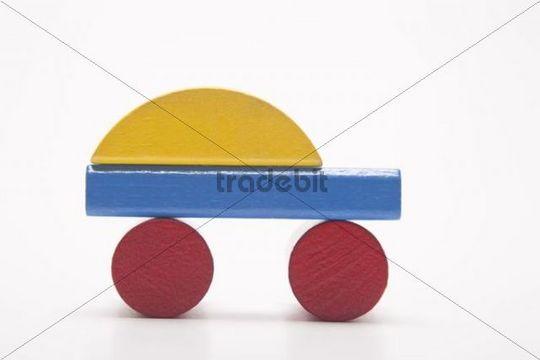 Colorful car, made of building bricks