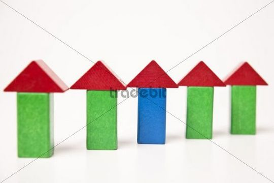 Terraced houses, made of building bricks
