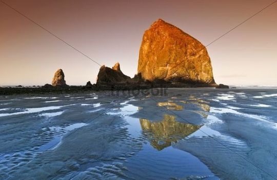 Famous Haystack Rock, monolith, solidified lava rock reflected in the tidal pool at Cannon Beach, tourist attraction, Clatsop County, Oregon Coast, USA, North America