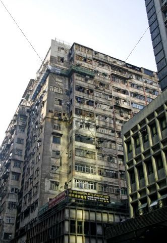 Old residential apartment building, Kowloon, Hong Kong, China, Asia