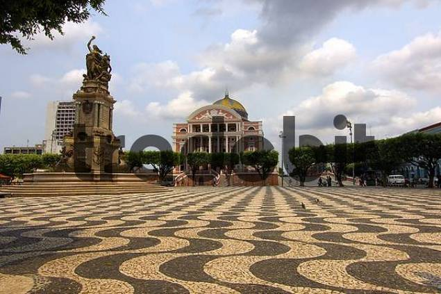 Square with mosaic Meeting of the Waters and Teatro Amazonas opera house, Manaus, Brazil