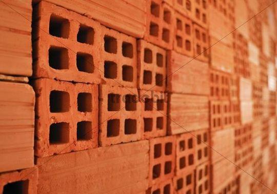 Burnt Clay Brick : Stack of burnt clay bricks vinh long mekong delta