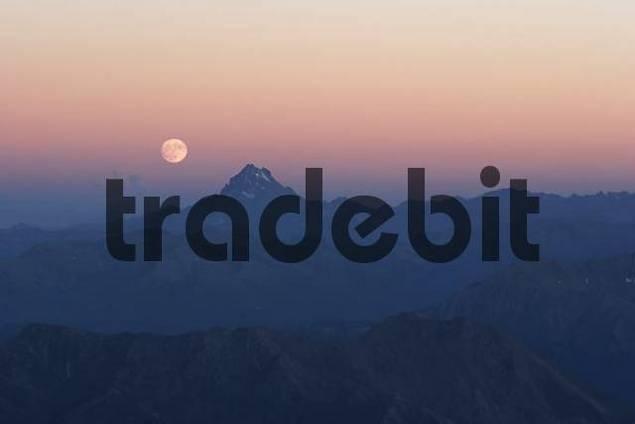 moon above Monte Viso, Piedmont, Italy