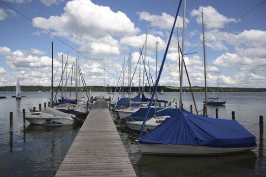 Pier on the Schondorf shore, Ammersee lake, Upper Bavaria, Bavaria, Germany, Europe