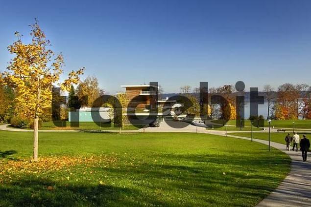 park in autumn fall Buchheim Museum near Bernried at the Starnberg Lake Bavaria Germany