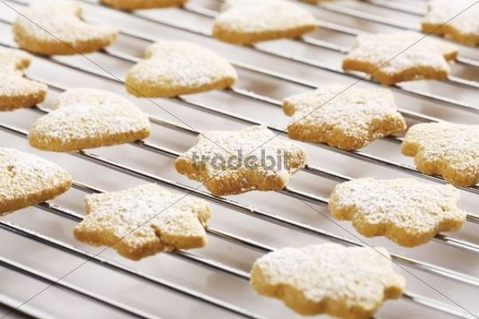 Shortcrust cookies on oven grid, dusted with powdered sugar
