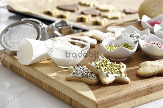 Christmas Bakery Baking Scene With Cookies And Decoration