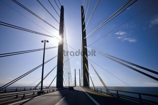 The pylons on the Oresund Bridge between Denmark and Sweden, Europe