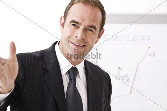Manager standing in front of a flipchart