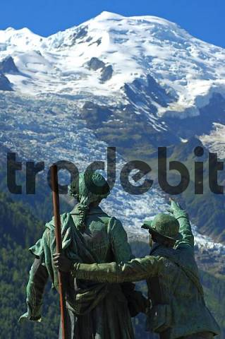 Balmat and Saussure monument, Bossons glacier and Dome du Gouter, Chamonix, France