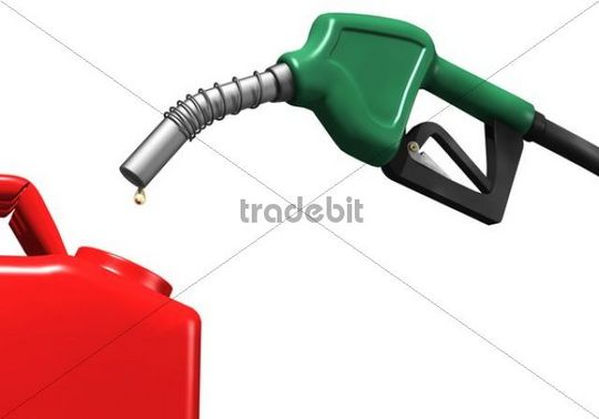 Last drops of gasoline coming out of a gas station nozzle into a canister, illustration