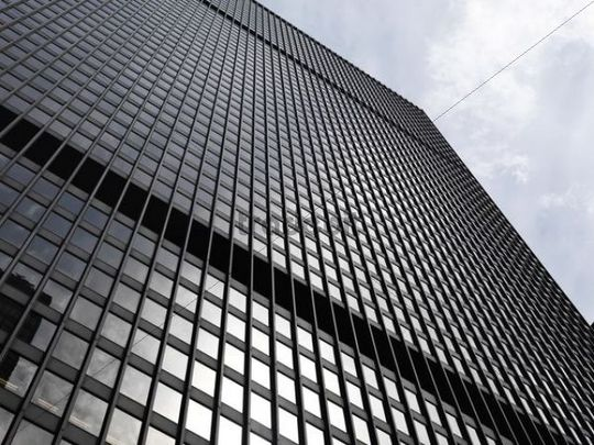 Black steel and glass high rise building, downtown Toronto, Ontario, Canada